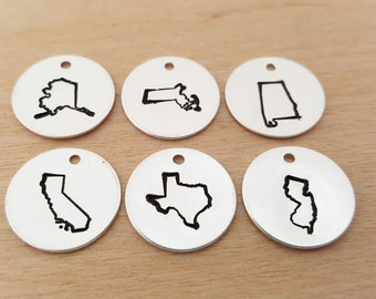 State Charm - Hand Stamped Charm - US State Charms - DIY Charm - Jewelry Supplies - Silver State Charm - Jewelry Findings - Handmade Finding