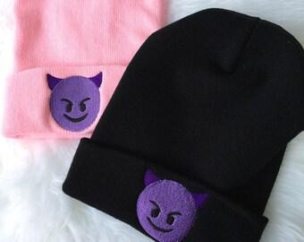 DEVIL EMOJI Beanie Embroidered Slouchy Hat Girlie Kawaii Hat