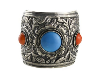 Chunky Silver Cuff Bracelet with Multi Colored Stones, Large Silver Cuff Bracelet