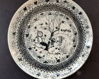 WINTER. Large 1970s BJORN WIINBLAD Seasons Wall Plate for Nymolle. 10 1/2 inches