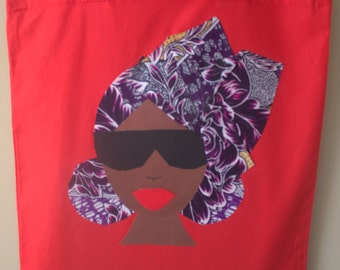 Head Wrap Tote ( Red and purple)