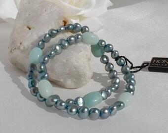 Honora Set of 2 Teal Pearl and Quartz Stretch Bracelets