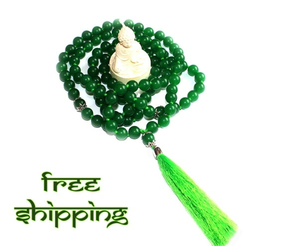 Japa Mala Hand Knotted 108 Gemstone Jade 10mm Beads Prayer Yoga Necklace for Meditation and Mantra - Free Shipping