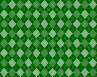 Green Argyle on cotton lycra jersey knit fabric - UK seller