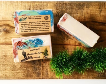 Lumberjack, Manly Scented Soap, Cold Processed Soap,Sexy Man Soap, Minnesota Soap, Olive Oil Soap, Gifts For Men, Gifts For Dad, Fathers Day
