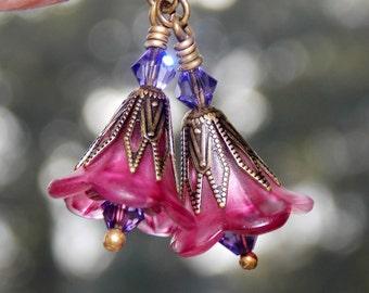 Lucite Earrings, Lucite Flower Earrings, 'Pink Satin', Victorian Earrings, Boho Earrings, Pink Flower Earrings, Dainty Flower Earrings
