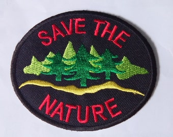 "Embroidered Save The Nature Iron on Patch Badge (3 1/8""x 2 5/8"")"