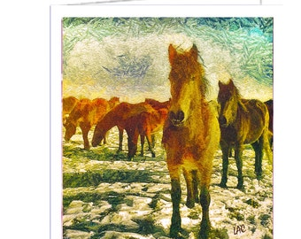 Winter Horse Team Set of 6 Blank Notecards and Envelopes By Doggylips