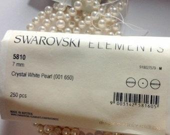 50+ Swarovski #5810 WHITE 7mm Pearls  New in Box