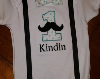 Mustache 1st birthday bodysuit  12-18 month shirt with matching bow tie