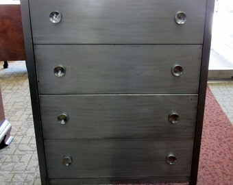 Mid Century Industrial Brushed Steel DRESSER