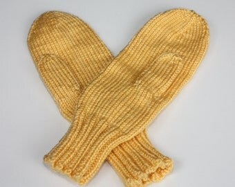 Knit Mittens, Yellow Adult Mittens, Sunshine Mittens for Women, Ladies Mittens, Warm Mittens, Soft Mittens, Yellow Halloween Costume