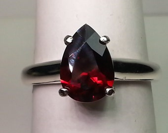 Natural Garnet Sterling Silver Ring 2.43 ct Size 7