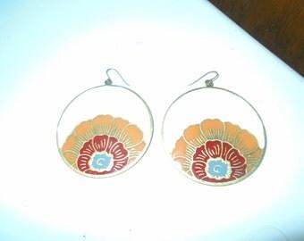 Vintage Enamel over Brass Hippy Earrings