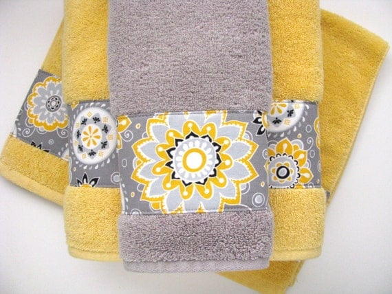 Yellow grey gray bathroom towels hand towels towel yellow for Yellow and gray bathroom sets