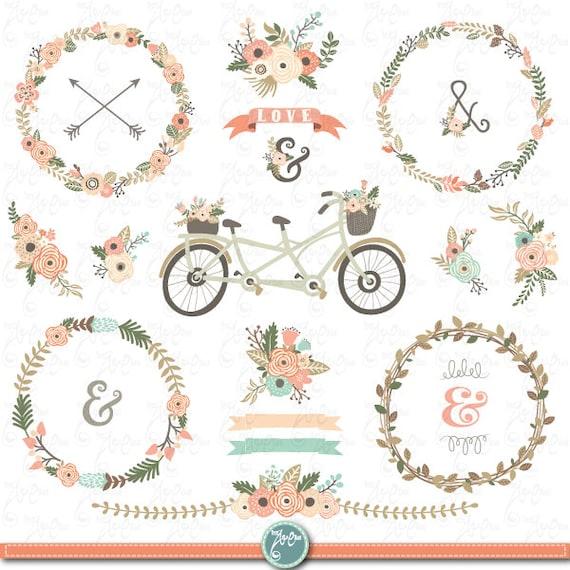 Floral Clip Art FLORAL RUSTIC Clipart Wreath