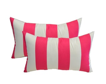 SET OF 2 - Indoor / Outdoor Rectangle / Lumbar Pillows - Preppy Pink & White Stripe