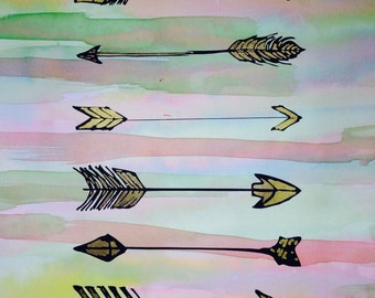 Hand painted watercolor on arrow print with gold detail.