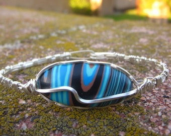 Rainbow Calsilica Bracelet, Sterling Silver Bracelet, Silver Wire Wrap Bracelet,  Silver Wire Work, Cuff Bracelet, TM-142