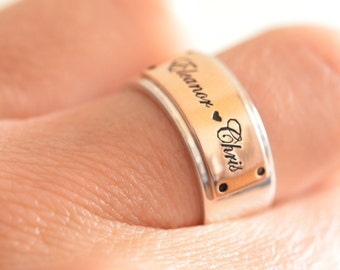 Sterling silver,Personalized ring,Couple Ring, Engraved Ring,Wedding Band,Custom wedding band,Christmas Gift
