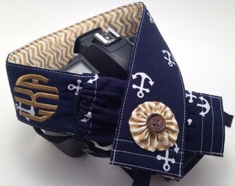 Navy Anchor with Gold Chevron - Monogrammed DSLR Camera Strap Cover with Lens Cap Pocket
