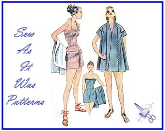 1950s Simplicity 3899 Bathing Suit Cover Up All Shirt Coat Halter Neck Strapless Swimsuit Playsuit Vintage Sewing Pattern Size 16 Bust 34