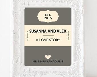 Personalised wedding gift - Personalised book cover print - custom wedding gift -custom anniversary print - 1st anniversary gift