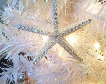 Rhinestone Starfish Ornaments, Nautical Ornaments,Beach Ornaments, Starfish Decor, Beach Christmas Decor