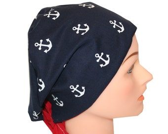 Scrub Hat Surgical Scrub Cap Chemo Vet Nurse Dr Hat European Style Pixie Navy Anchors Red Blue  2nd Item Ships FREE