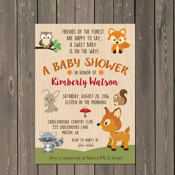 Woodland baby shower invitation woodland animals shower invite il570xn filmwisefo Images