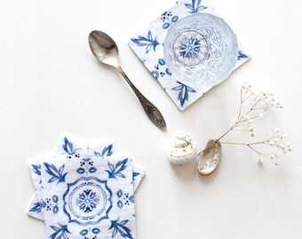 Set of 4 Mosaic Washed Linen Coasters