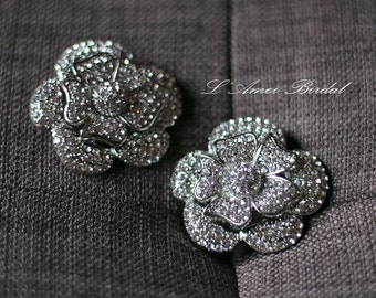 2pcs Beautiful Crystal Rhinestone Rose Gold or Silver Flower Wedding Bridal Shoe Clips
