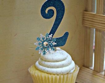 Frozen Number Cupcake Picks 12, Winter Snowflake Cupcake Pick, Frozen Cupcake Topper, Year Pick, Age Topper, Food Picks, Party Decor,