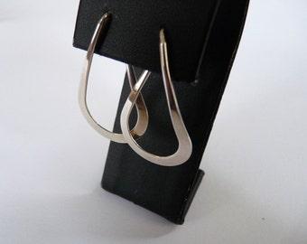 Ed Levin American vintage handmade top modernist designer hoop earrings in sterling silver
