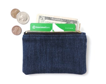 Denim Coin Purse Wallet Zipper Pouch Blue