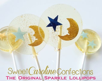 Star and Moon Baby Shower Lollipops, Star Party, Twinkle Twinkle, Candy Lollipops, Candy, Sparkle Lollipops, Sweet Caroline -Set of Six