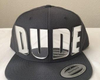 DUDE 3d custom Silver mirrored acrylic snapback