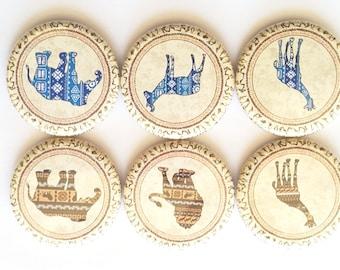 African Animals Magnets, Refrigerator Magnets, Fridge Magnet, Elephant Lion Giraffe Magnets, Decorative Magnets, Animals Magnets, Set of 6