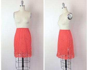 60s Peach Orange Skirt Slip - 1960s Vintage Lace Half Slip - Medium - Size 6