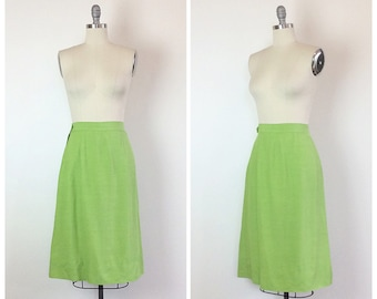 60s Lime Green Raw Silk Wiggle Skirt / 1960s Vintage High Waisted Pencil Skirt / Medium / Size 6