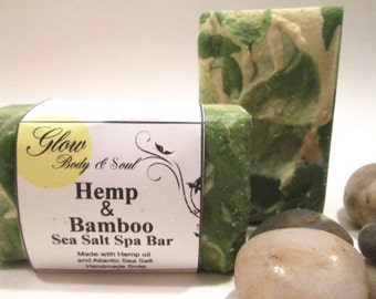 Hemp and Bamboo Sea Salt Spa Bar Soap Handmade Sea Salt Soap