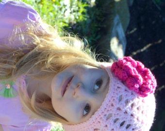 Girls Summer Hat, Crochet Summer Beanie, Flower Beanie, Crochet Flower, Knit Flower Hat, Spring Newborn Photo Prop, Spring Baby Hat, Toddler
