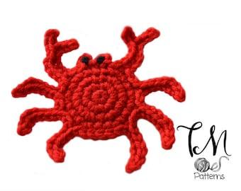CROCHET PATTERN Crab Applique, Small Crab, Crochet Pattern, Nautical Crochet Pattern, Nautical Decor Scrapbook Crab Pattern DIY Crab Crochet