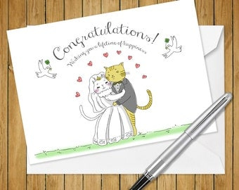 Cat Wedding white cat and tabby cat Greeting Card (5x7 size)