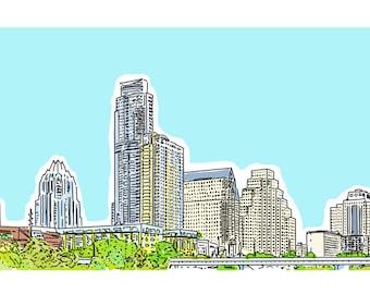 City skyline illustration, Austin Texas skyline, beautiful city life