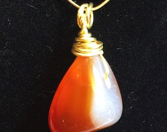 Pendant - Orange and White Carnelian Agate Briolette Pendant with Gold Wire Wrapped Cap - FREE SHIPPING