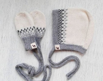 Baby gift set bonnet and mittens / charcoal / ivory /gray / alpaca wool baby cap / knit baby bonnet / baby mittens / baby shower gift