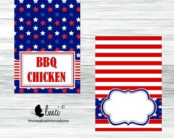 Patriotic Food Tent Cards, Instant Download - Digital File