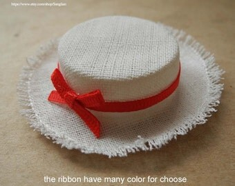 """linen hat for barbie and many 12"""" dolls"""