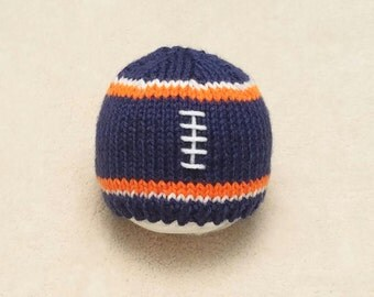 Blue Orange Football Baby Hat - Blue Football Hat - Blue Orange Newborn Photo Prop